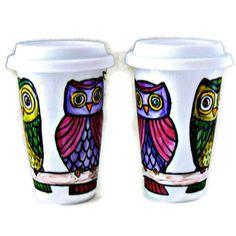Ceramic Travel Mugs Set Besties BFF Owls Personalize Tree 2 Custom Tumblers Woodland Eco Friendly Painted Folk by sewZInski. $70.00, via Etsy.