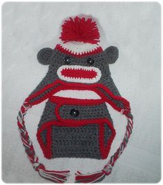 Sock Monkey Diaper Cover and Hat Set for your baby to monkey around in. $30