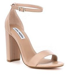 These come in White too Steve Madden Carrson Leather Ankle Strap Block Heel Dress Sandals Beige Heels, Nude Shoes, Neutral Sandals, Ankle Strap Block Heel, Ankle Strap Heels, Ankle Straps, Clear High Heels, Nude High Heels, Designer Shoes