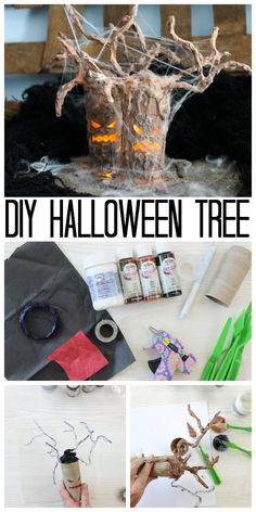 Halloween Tree for Testors Crafternoons Make a Halloween tree with a toilet paper roll! This easy craft idea will add some fright to your Halloween decor! Easy Crafts To Sell, Christmas Crafts To Sell, Paper Crafts For Kids, Holiday Crafts, Diy Halloween Tree, Halloween Decorations, Halloween Club, Halloween Projects, Halloween Stuff