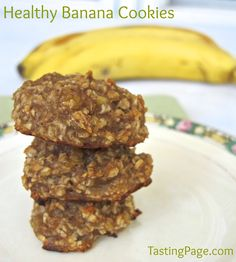 healthy banana cookies - Daniel Fast Cookies 2 ripe bananas, 1 c quick oats, add dried fruit or chips or pnut butter as desired. Bake at 350 deg about 15 min.