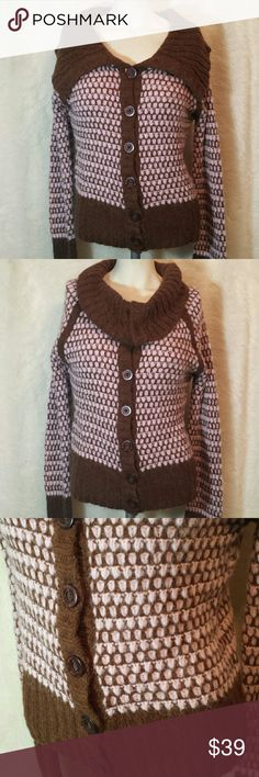 Free People Alpaca Blend Cardigan Sweater Large Free People chunky knit alpaca blend cardigan sweater. Pink and cocoa. Option to leave top unbuttoned for a thick collar that rests on the shoulders or button up for an oversized cowl neck. Tortoiseshell style large buttons. Long sleeve for optional cuff.  Preowned in good  condition with no rips, holes, tears or stains. Please note that this sweater is part Alpaca wool, the fuzzy look is factory intended due to this fabric content. Large…