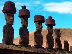 The Moai Statues of Easter Island.