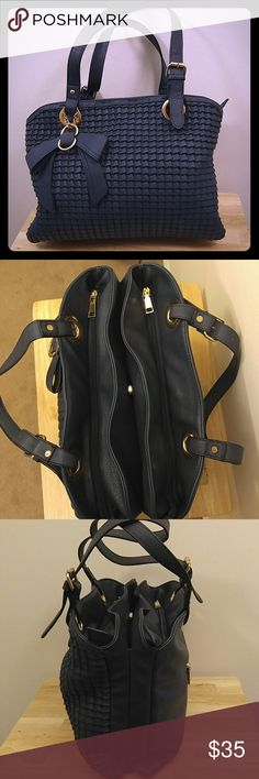 Large shoulder bag Blue pleather, lots of room, 3 large compartments, plus smaller compartments Bags Shoulder Bags