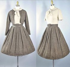 "Vintage #1950 Gay Gibson ✨Tweed Wool Belted Dress & Crop Bolero Set ✨SIZE: XS (33-34""/24-25.5"") New on Etsy ☃️"