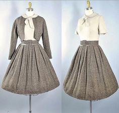 "Vintage #1950 Gay Gibson ✨Tweed Wool Belted Dress & Crop Bolero Set ✨SIZE: XS (33-34""/24-25.5"") New on Etsy ☃️"