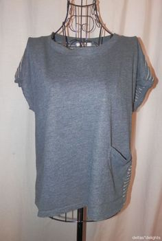 PURE + GOOD TOP L Large Blue Striped Pocket Causal Short Sleeve ANTHROPOLOGIE #PureGood #KnitTop