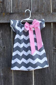 Gray Chevron Pink Bow Peasant Dress - Baby Girl on Etsy, $27.50