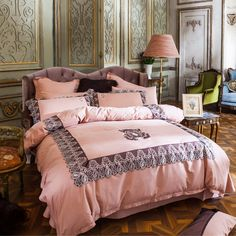 Lace pillowcase bed sheet embroidered duvet cover,100% Egyptian cotton bedding set queen king size bed linens,princess style