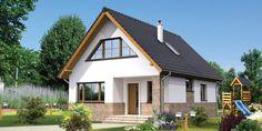 Proiect superb de casa cu mansarda in suprafata de 90 mp! Attic Rooms, Small House Design, Design Case, Home Fashion, Living Room Designs, Tiny House, Outdoor Living, House Plans, Exterior