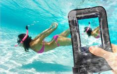 Universal Underwater Phone Case  This scares me.