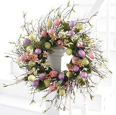 """Easter Wreath - Easter Egg Wreath - 22"""" Wreath - 22"""" DIAMETER EASTER EGG WREATH - This magnificent Easter wreath is adorned with multicolor Easter eggs and silky fabric spring flowers and foliage. - C"""