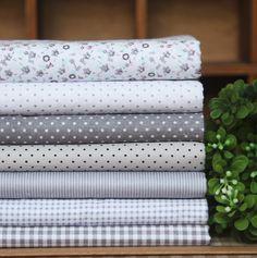 Elegante gris 7 pcs tela algodón 100% 20*30cm diy mosaico hecho a mano la tela para el hogar de envío gratis