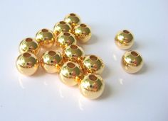 8mm Gold Beads (25) Great Quality Round Smooth Gold Seamless Plated Spacers Lead and Nickel Free Wholesale Jewelry Supply CrazyCoolStuff