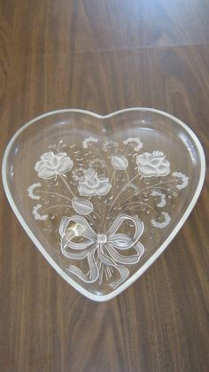 Large Heart Shaped Mikasa Glass Platter with by VintageandSheek