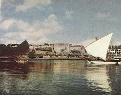 View of Fort Jesus and a old type dhow from the old Mombasa Harbour -1959