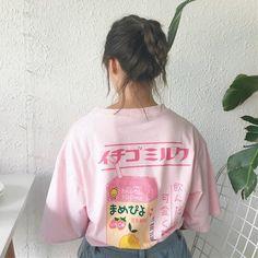 Kawaii Fruit Juice Cotton T-shirt Women Tops Harajuku Japanese Fashion Kawaii Tee 2018 Hot Summer Girls T-shirts T Shirt Designs, Harajuku Fashion, Japan Fashion, Korea Fashion, Summer Outfits Women, Summer Girls, Kawaii Fruit, Korean Fashion Trends, Kawaii Clothes