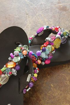 Beaded Flip Flops by Cutipiethis on Etsy, $65.00