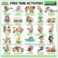 A list of 101 free time activities in English with a video to help with the pronunciation of these common activities. English Language Learning, Teaching English, English Grammar, English Play, Learn English, Freetime Activities, Woodward English, English Activities, English Vocabulary Games