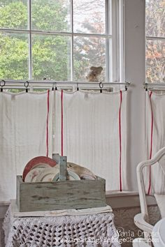 Love these dishtowels as curtains!  So cute!  Creating Vintage Charm