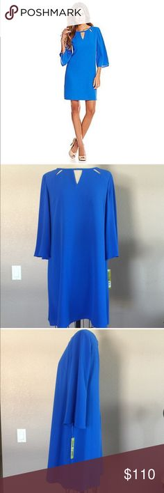 BDAY SALE Mini Shift Dress NWT Amazing NWT Gianni Bini Carina Cutout mini shift dress in that beautiful cobalt blue. Shell 100% polyester, Lining 97% Polyester 3% Spandex.  ✅Bundle and save ✅ ✅ all reasonable offers will be considered No Trading  Poshmark rules only‼️ Measurements taken laying flat ️️Ⓜ️ chest 20 Ⓜlength 35  Ⓜ️sleeve 18 Gianni Bini Dresses Mini