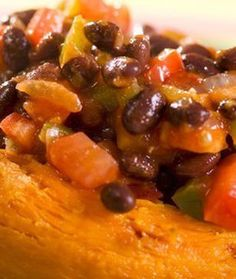 These sweet potatoes with black beans, chilli and avocado provide five of your five-a-day, are jam packed with nutrients and gluten free to boot!