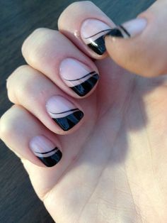 Black French nail tips | See more at http://www.nailsss.com/colorful-nail-designs/2/