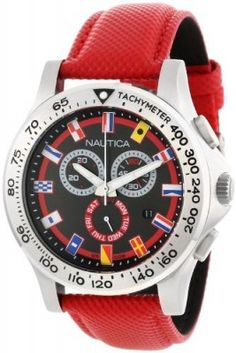 Relógio Nautica Men's N19596G NST 600 Chrono Flag Classic Analog with Enamel Bezel Watch #Relogio #Nautica