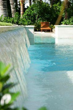 mini-waterfall into pool