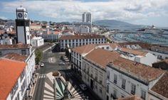 The harbour at São Miguel's capital Ponta Delgada. Azores, Portugal
