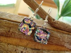 Pink Ripple Dichroic Earrings