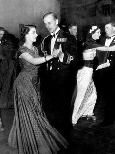 Princess Elizabeth and Prince Philip dancing 1950.
