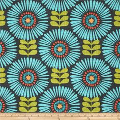 Michael Miller Hashmark Fringe Flowers Luna from @fabricdotcom  Designed for Michael Miller, this cotton print fabric is perfect for quilting, apparel and home decor accents. Colors include shades of turquoise, orange, green, and charcoal.