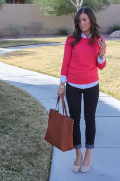 Denim Leggings + Crisp Oxfords - J.Crew Crewneck Sweater / Gap Polka Dot Oxford / Gap Denim Leggings / J.Crew Wedge Espadrilles / Madewell Tote / Michael Kors Gold Watch / J.Crew Cork Bangle