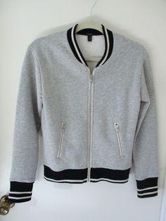 J CREW Gray Black Baseball Bomber Zip Up Fleece Jacket XXS Womens Long Sleeve #JCrew #FullZip