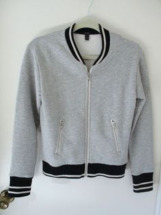 J CREW Gray Black Baseball Bomber Zip Up Fleece Jacket XXS Womens Long Sleeve #JCrew #FullZip
