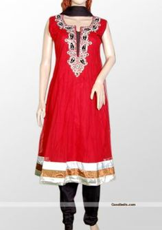 Enhance your elegance wearing this dress designed with red shade. Silver stones and contrast patch work gives it attractive look and shimmering border adds charm to your feminine. It will look good for wedding or any special occasion. http://goodbells.com/salwar-suits/red-partywear-salwar-kameez.html?utm_source=pinterest_medium=link_campaign=pin30julyR31P50