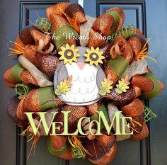 Turkey Fall Wreath Mesh Fall Wreath Mesh by CreationsbySaraJane