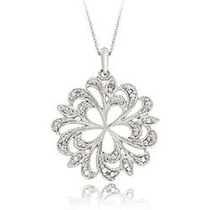 DB Designs Sterling Silver Diamond Accent Swirl Flower Necklace   Overstock.com Shopping - The Best Deals on Diamond