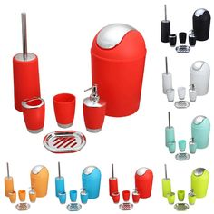 >> Click to Buy << 6PCS/ Set Bathroom set Bathroom lotion bottles toothbrush cup soapbox trash can toilet brush A2 #Affiliate