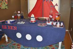 Nautical Sailor Party - cute table cloth idea