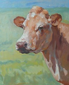 "24 "" TOP Original  ART oil painting # animal COW CATTLE FARM  painting -100% hand painted OIL painting-accept custom painting"