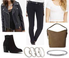 Jacket, dark gray jeans or leather leggings, crop top, booties