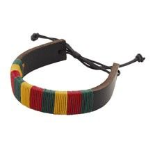 This awesome unisex leather rasta bracelet is the perfect hippie accent for any casual outfit. Thick thread in rasta colors is wrapped around a leather band with adjustable cord fasteners.  $7.00