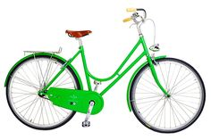 bicycles are a chic and eco friendly way of transportation.  This is a gorgeous green bike!