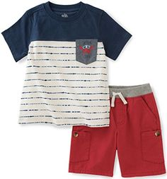 Take a look at this Kids Headquarters Navy & Cream Stripe Tee & Red Shorts - Infant, Toddler & Boys today! Boys Summer Outfits, Little Boy Outfits, Baby Boy Outfits, Kids Outfits, T Shirt And Shorts, Red Shorts, Pocket Shorts, Cute Tshirts, Kids Shirts