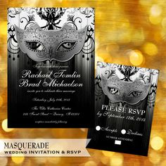 Masquerade Black and White Wedding Invitation and by OddLotPaperie