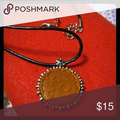 Necklace 24in leather cord w ik the leather embossed pendent (35 x30mm round) Jewelry Necklaces