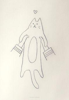 20 Easy Cat Drawing Ideas Simple Cat Drawing, Cute Cat Drawing, Cute Little Drawings, Love Drawings, Easy Drawings, Animal Drawings, Drawing Ideas, Cat Doodle, Magic Cat