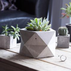 PENTOID Large Concrete Geometric Planter for by TheArmoryCo